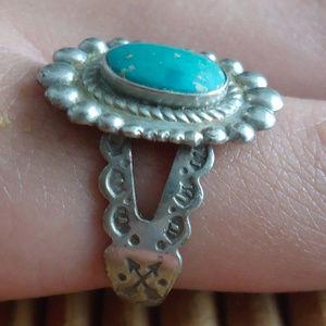 1940s Southwestern Turquoise Ring Adjustable